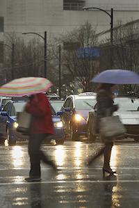 Cars-Pedestrians-Wet-Weather